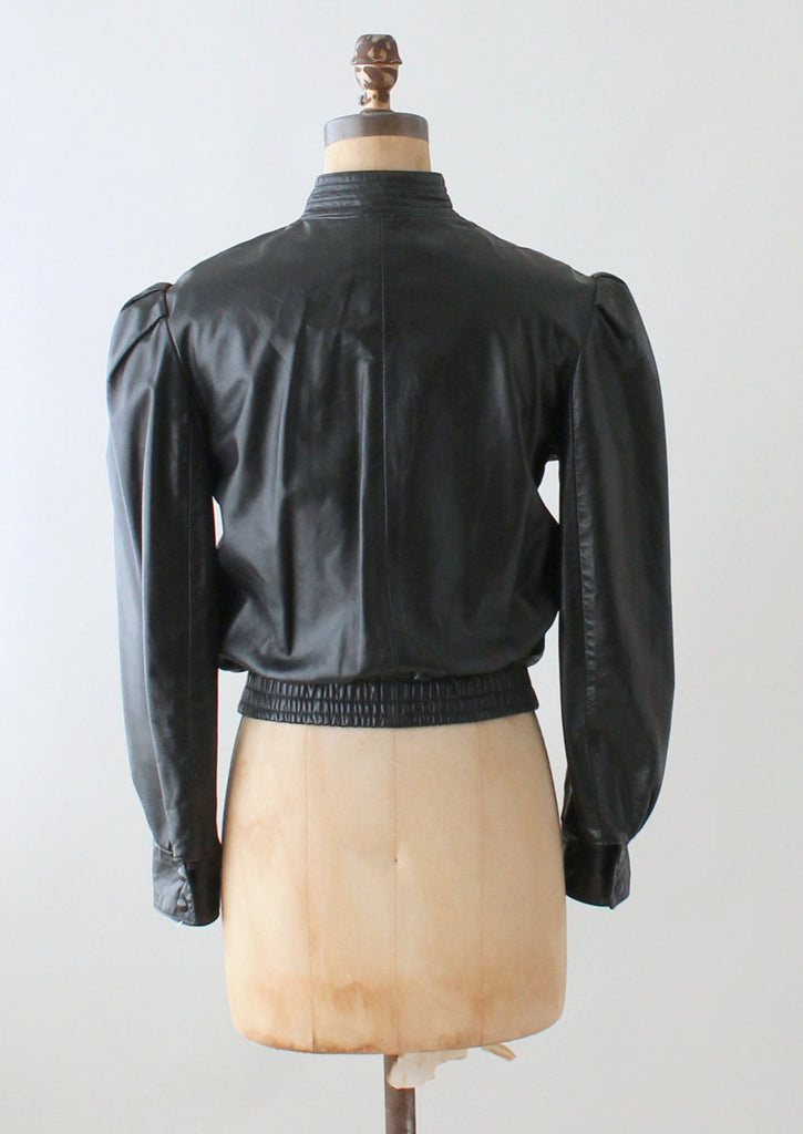 Vintage 1970s Puff Sleeve Black Leather Jacket Raleigh