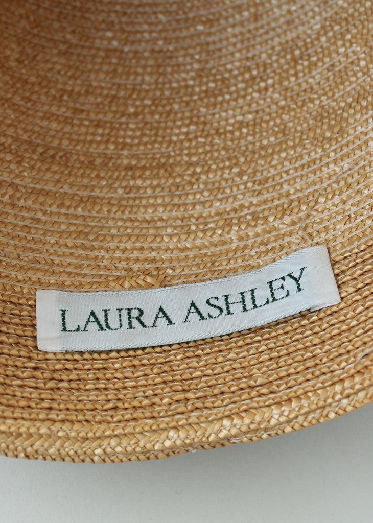 Vintage 1980s Laura Ashley Straw Cloche Hat