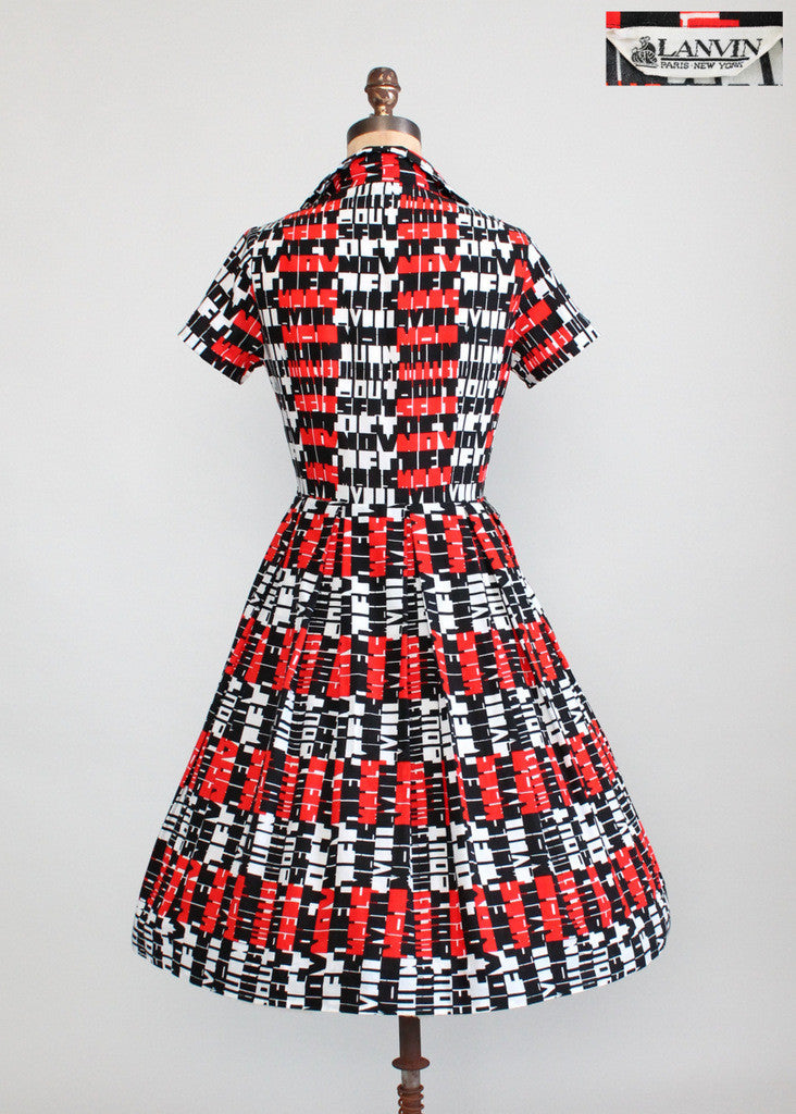 Vintage 1960s Lanvin Pop Art Shirt Dress