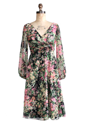 Vintage Late 1960s B. Altman Floral Chiffon Party Dress