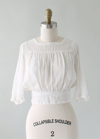 Vintage 1910s Cotton Batiste Angel Sleeve Blouse