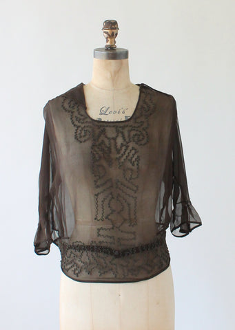 Vintage 1920s Brown Silk Soutache Blouse