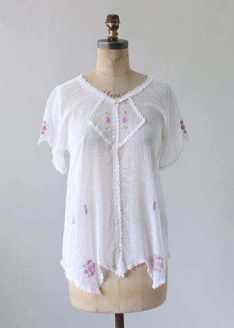 Vintage 1920s Embroidered Cotton Drop Waist Summer Shirt
