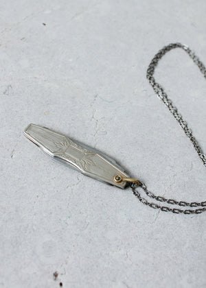 Vintage 1920s Silver Dual Blade Knife Necklace