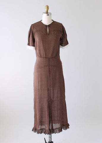 Vintage 1930s Brown Swiss Dot Day Dress