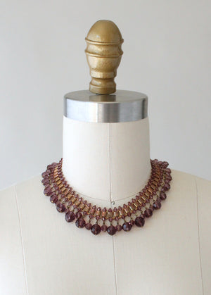 Vintage 1930s Purple Glass and Brass Statement Necklace