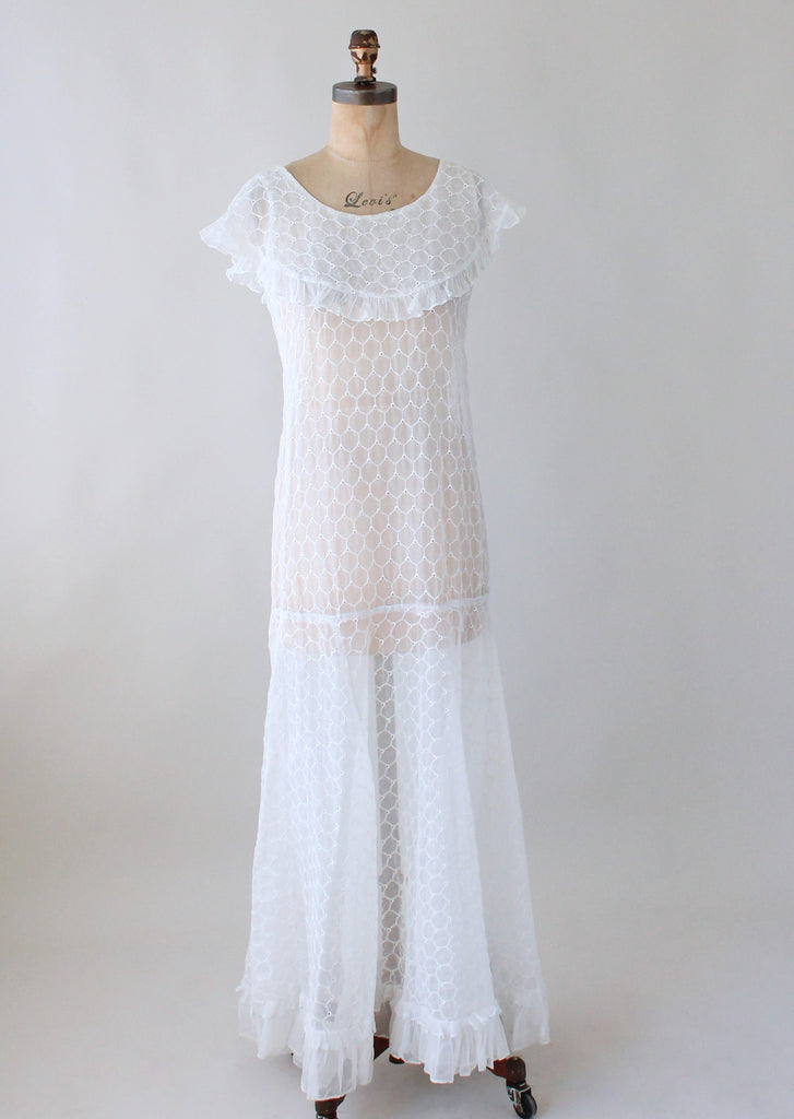 Vintage 1930s White Organdy Honeycomb Party Dress   Raleigh Vintage
