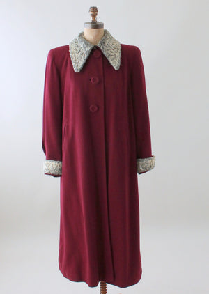 Vintage 1940s Cranberry Wool and Curly Lamb Fur Coat