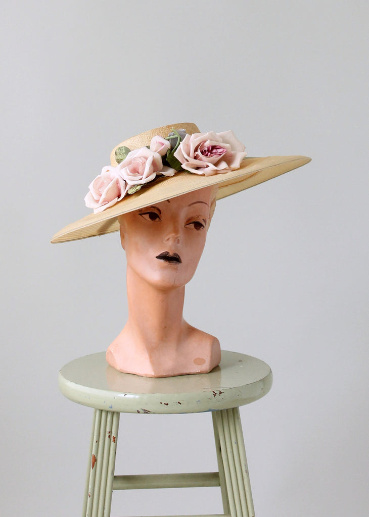 Vintage Early 1940s Pink Roses Wide Brim Hat  7c9864270a7