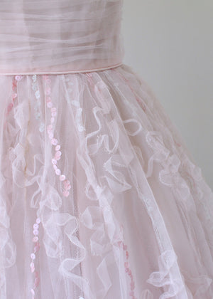 Vintage 1950s Pink Tulle and Sequins Prom Dress