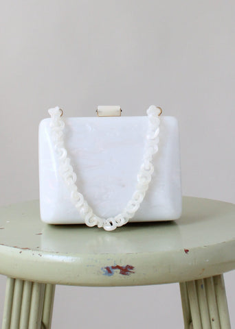 Vintage 1950s White Lucite Box Purse