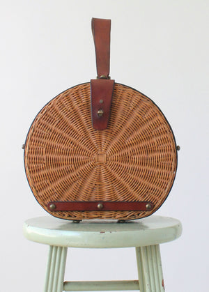 Vintage 1960s Aigner Large Round Wicker Purse