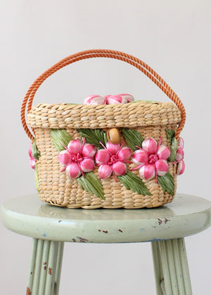 Vintage 1960s Floral Raffia Box Purse