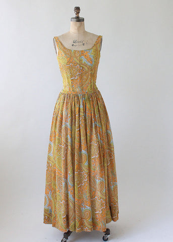 Vintage 1960s Paisley Cotton Maxi Sundress