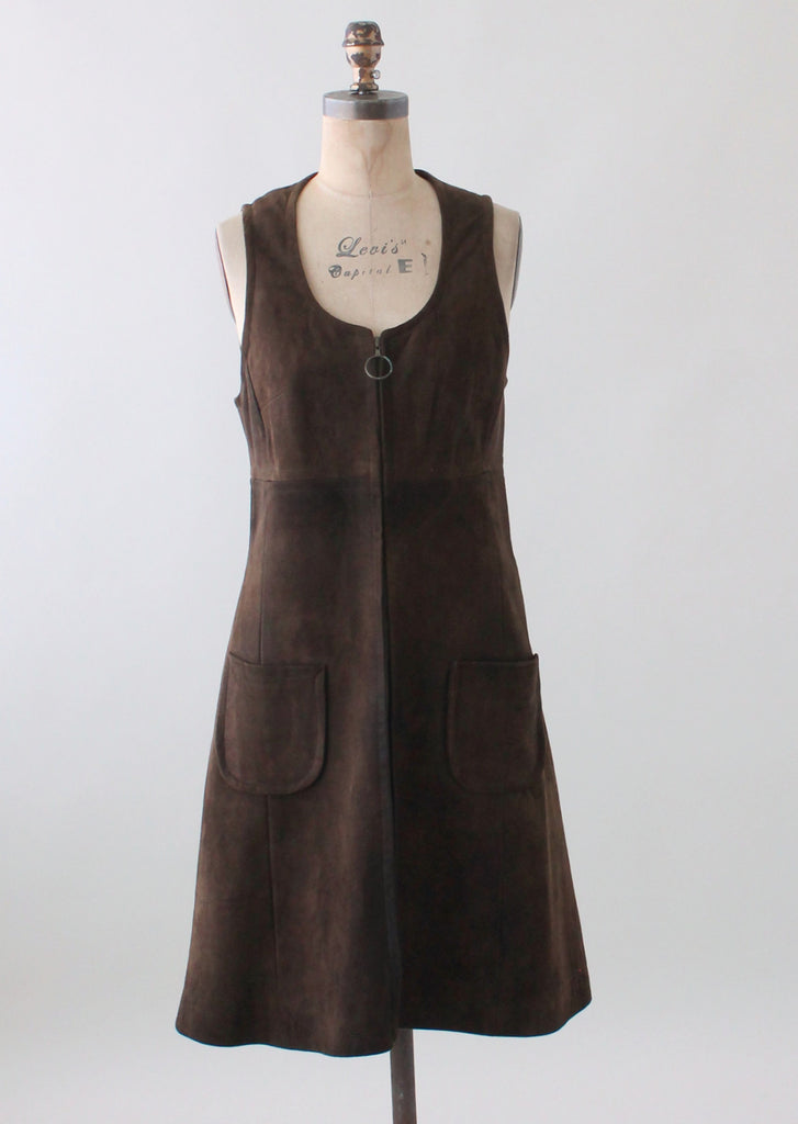 Vintage 1960s Brown Suede Zip Front Jumper Dress