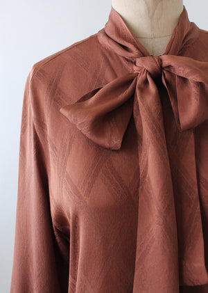 Vintage 1970s Gucci Brown Silk Logo Blouse
