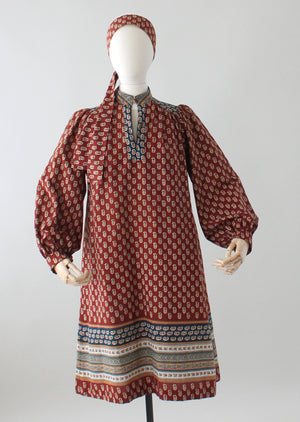 Vintage 1970s Indian Cotton Fall Dress