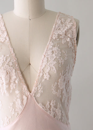 Vintage 1970s Sexy Pale Pink Rayon and Lace Gown