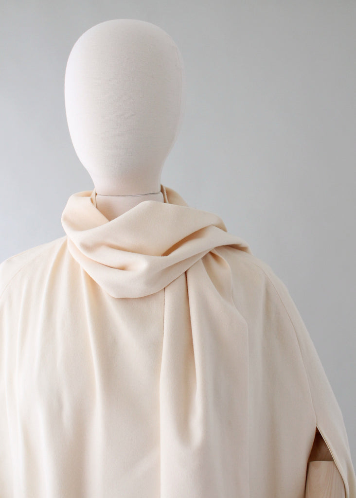 Vintage 1970s Winter White Long Cape