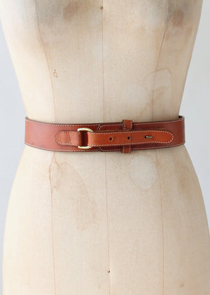 Vintage 1980s Brown Leather Fold Back Belt