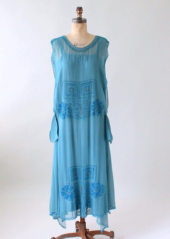 Vintage 1920s Cornflower Blue Tambour Beaded Silk Dress