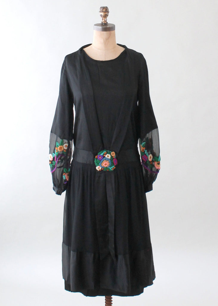 Vintage 1920s Black Silk Dress with Wool Embroidery