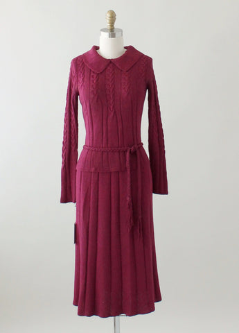 Vintage 1930s Plum Knit Sweater and Skirt Dress Set