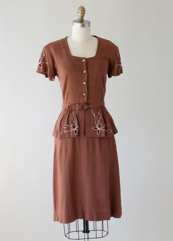 Vintage 1940s Brown Cut Out Peplum Day Dress
