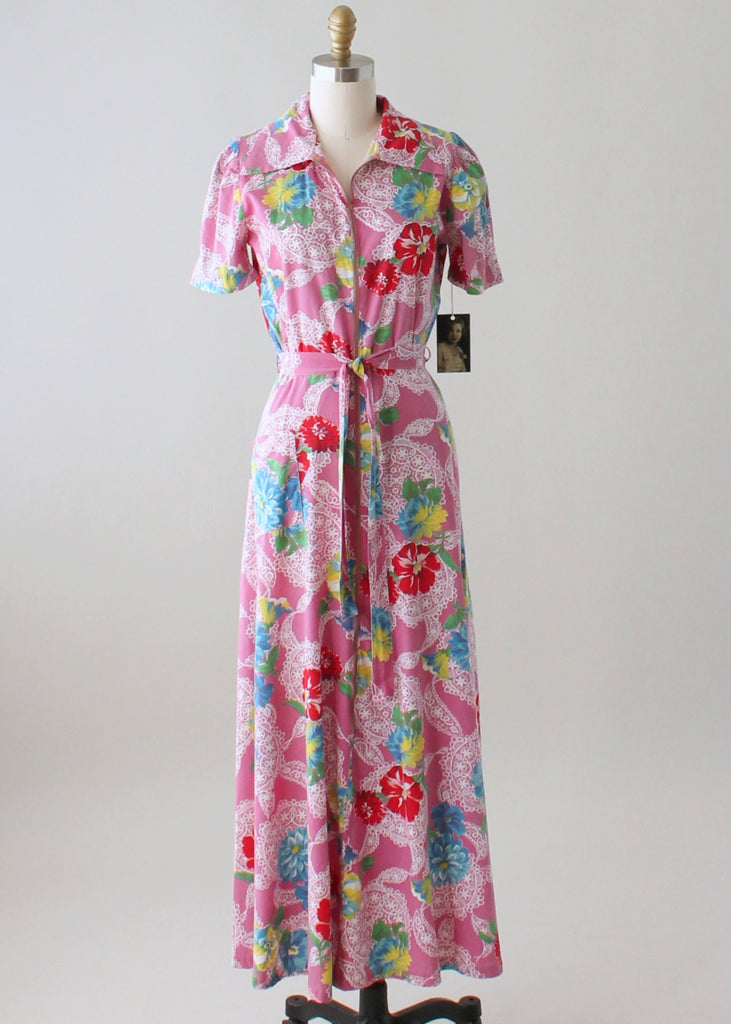 Vintage 1940s Floral Cotton Zip Front Robe Dress
