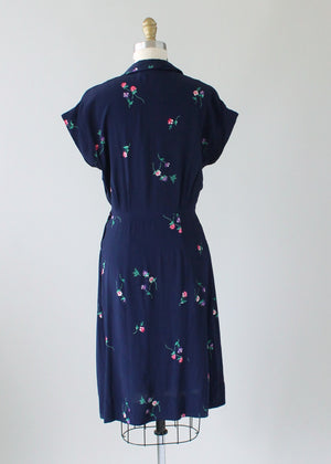 Vintage 1940s Navy Rayon Day Dress with Petite Flowers
