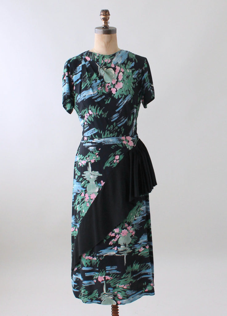 1940s Day Wear: Vintage 1940s Floral Rayon Day Dress With Skirt Ruffle