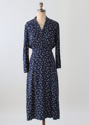 Vintage 1940s Navy and White Cotton Jersey Day Dress