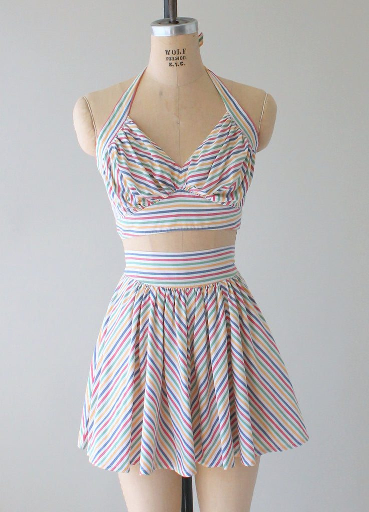 2537d39964f Vintage 1940s Rainbow Striped Two Piece Playsuit