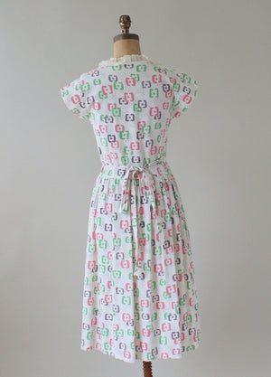 Vintage 1940s Abstract Pastel Print Pique Summer Dress