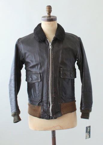 Vintage 1950s USN Leather Flight Jacket