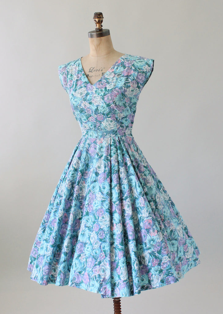 Vintage 1950s Pastel Blue Floral Cotton Day Dress