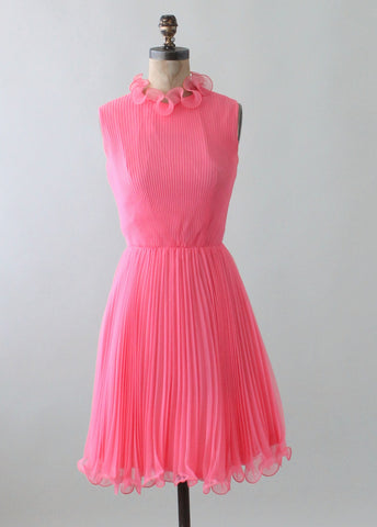 Vintage 1960s Pink Chiffon MOD Party Dress