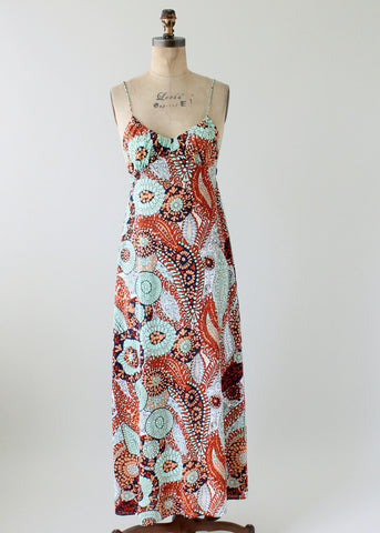 Vintage 1970s Abstract Print Sexy Sundress