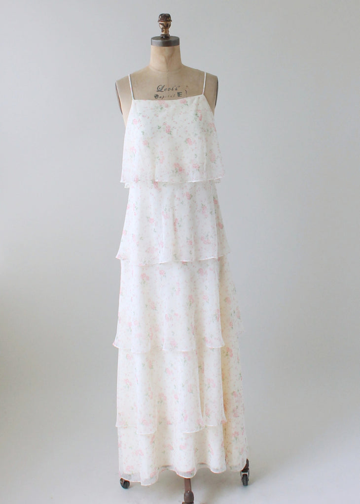 6b68d972b09b2 Vintage 1970s Tiered Floral Garden Party Dress