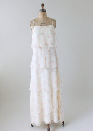 Vintage 1970s Tiered Floral Garden Party Dress