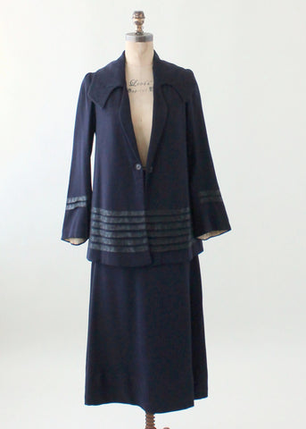 Vintage Late 1910s Navy Wool Walking Suit