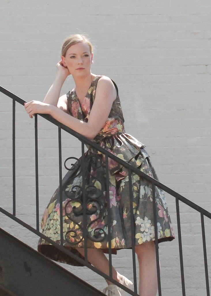 Vintage 1980s Floral Lame Party Dress