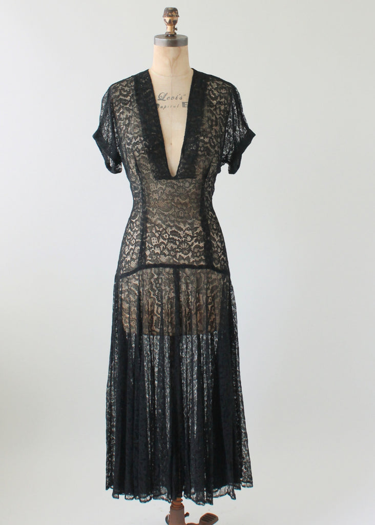 Vintage 1940s Plunging Neckline Black Lace Dress Raleigh