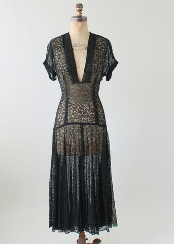 Vintage 1940s Plunging Neckline Black Lace Dress