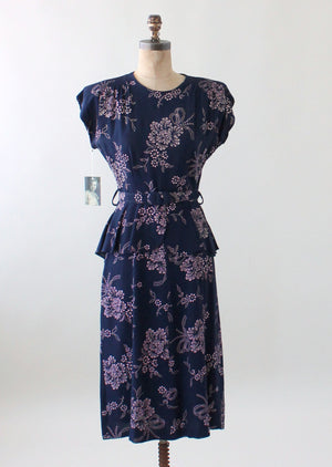 Vintage 1940s Navy and Pink Rayon Floral Dress with Peplum