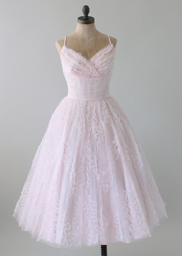 vintage 1950s pink tulle and sequins prom dress raleigh