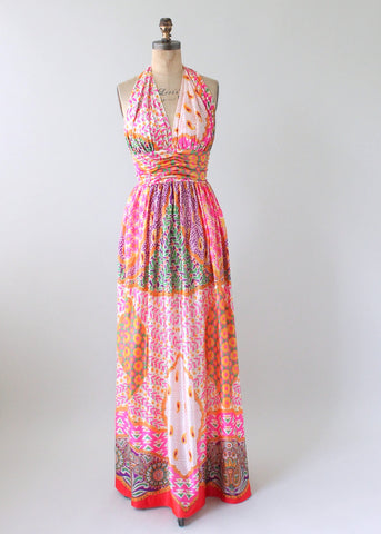 661e789c8b Vintage 1970s Scarf Print Halter Maxi Dress and Shawl