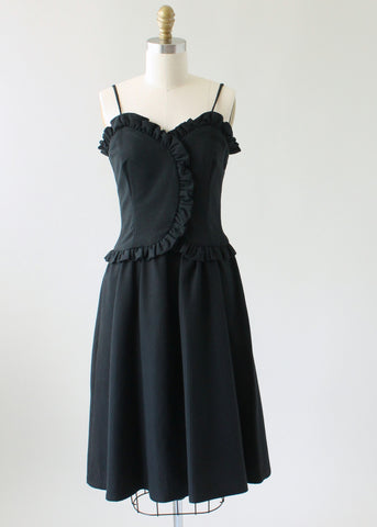 Vintage 1970s Oggee Black Cotton Garden Party Dress