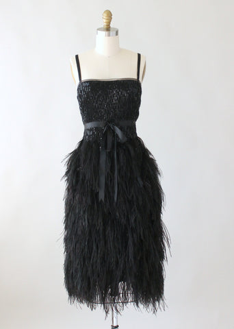Modern Douglas Hannant Sequins and Feathers Party Dress