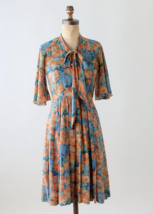 Vintage Floral Silk Dress with Flutter Sleeves